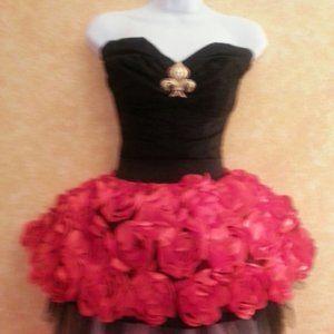 Red & Black Corset 3D Rosette Tutu Mini Dress